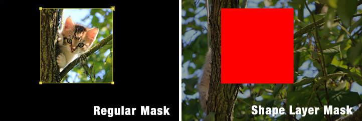 After Effects mask compare to shape layer mask