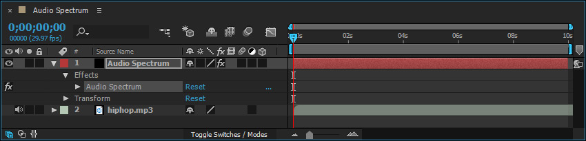 ae timeline solid with audio spectrum effect
