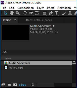 after effects project window