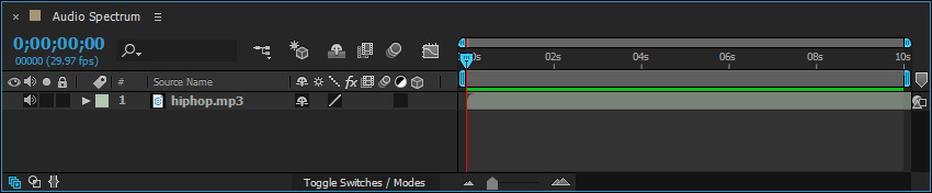 audio file on after effects timeline
