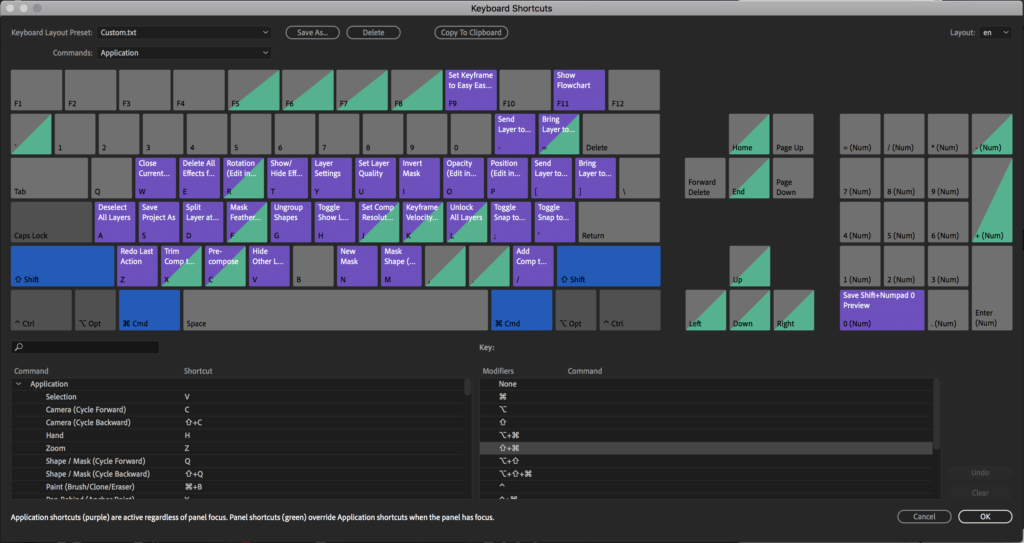 After Effects Keyboard Shortcuts Editor